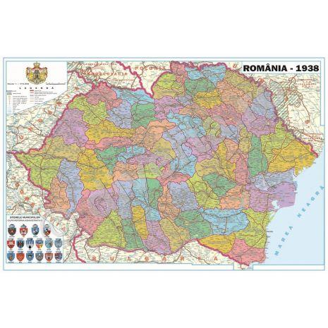 ROMANIA INTERBELICA (1938), harta de perete istorica, administrativa (stemele municipiilor, vecini), format 100 x 145 cm, editie 2017, laminata - plastifiata (incapsulata), baghete, scolara, didactica