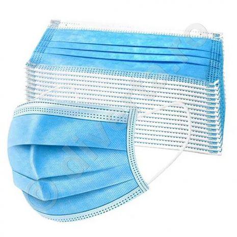 Masca faciala de protectie, 3 pliuri, 3 straturi, 2 elastice si banda metalica de fixare, albastra, unica folosinta, 50 buc / set - 2