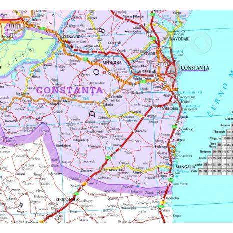 HARTA ROMANIEI INRAMATA, rama aluminiu cu suport foamboard / pluta si agatatori, administrativa, rutiera si turistica (vecini + Republica Moldova completa), scara 1:657000, format 90 x 120 cm, plastifiata (laminata fata-verso) (incapsulata) - detaliu