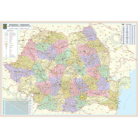ROMANIA, harta de perete administrativa si rutiera, format 175 x 250 cm, editie actualizata 2019, laminata - plastifiata (incapsulata), baghete
