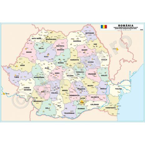 ROMANIA HARTA ADMINISTRATIVA SIMPLIFICATA (SIMPLA) (Delimitarea Judetelor si Localitati Principale), harta de perete, format 100 x 140 cm, editie actualizata 2020, laminata - plastifiata (incapsulata), baghete; harta Romaniei actualizata; harta simplificata (simpla) pentru lucru si notite;     Judetele Romaniei; Municipiile si orasele principale ale Romaniei; foarte utila pentru firme de distributie produse, marketing, recrutare forta de munca, constructii, logistica, transporturi, shipping, agentiile de turism, primarii, consilii judetene, etc.