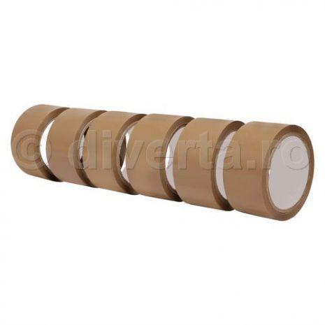 Banda adeziva acrilica pentru ambalare, maro, 48 mm x 60 m, 36 microni (EU) - 6 buc / set; pret pe bucata: 2.80 lei; latime: 48 mm; lungime: 60 m; grosime: 36 microni; culoare: maro