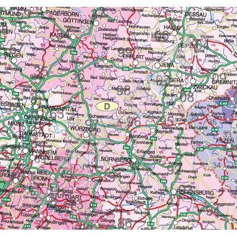 Europa Harta De Perete Politica Si Rutiera Cu Coduri Postale