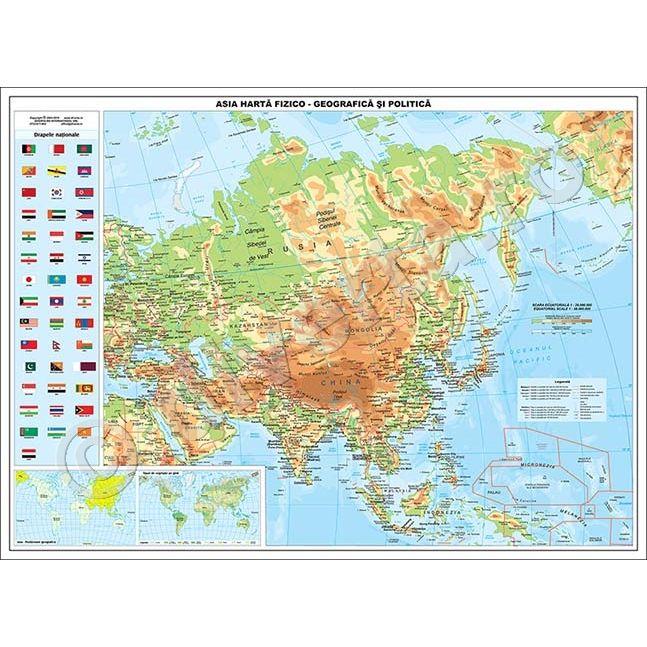 Asia Harta De Perete Fizica Geografica Si Politica 90x120cm