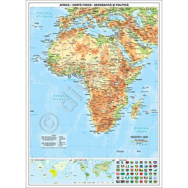 Africa Harta De Perete Fizica Geografica Si Politica 115x160cm