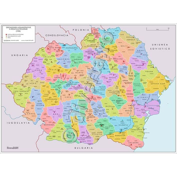 Romania Regat 1930 Harta De Perete Istorica Administrativa