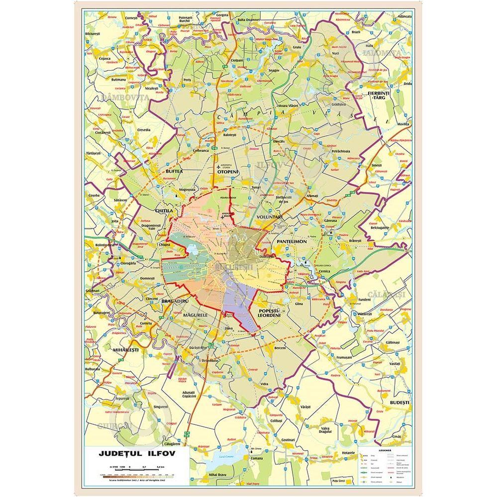 BUCURESTI + ILFOV UAT (delimitare comune, orase, judete)-Judet si ZONE  LIMITROFE, harta de perete administrativa, rutiera, 100x140 cm, laminata,  baghete